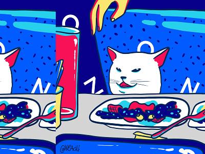 meme Woman Yelling at a Cat merch design animals illustration cat meme