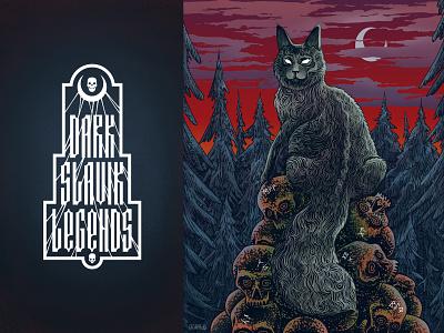 Cat Bayun skull legend illustration animals cat