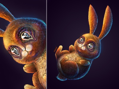 Little mad rabbit rabbit eyes forworn tired mad wool cute animals illustration