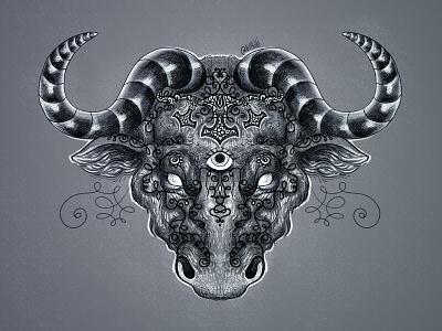 Bull of Asgard tattoo pattern mythology asgard scandinavia bull animals illustration