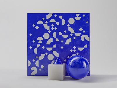 Space ultramarine blue geometric pattern ultramarine blue contrast composition geometric illustration colors design 3d