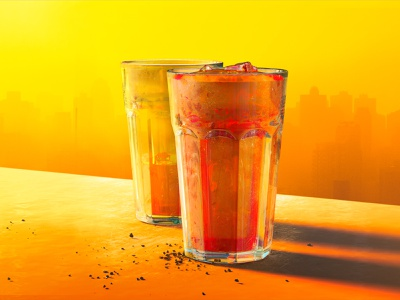 Soda chill on the rooftop at friday sunset! illustration design 3d
