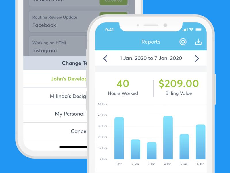 Report - Time Tracking App UI Design android app design ux ui user inteface user experience design design ui design clean ui