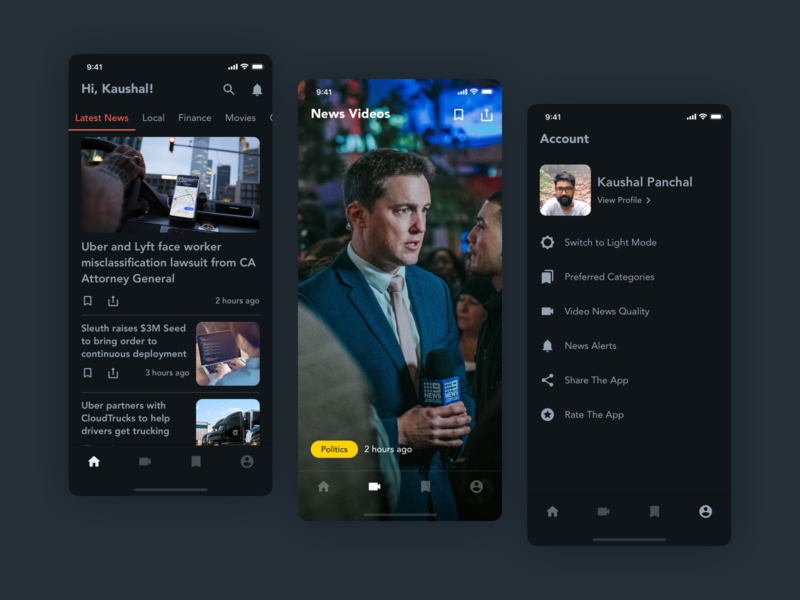 News App - Dark Mode concept user inteface news feed dark theme dark mode news ux ui user experience design design ui design clean ui