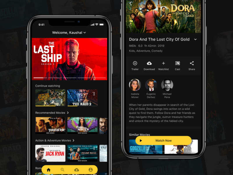 Ahoy - Movie Streaming App amazon prime netflix dark theme dark mode movie streaming app movie app concept user inteface ui design ui design clean ui