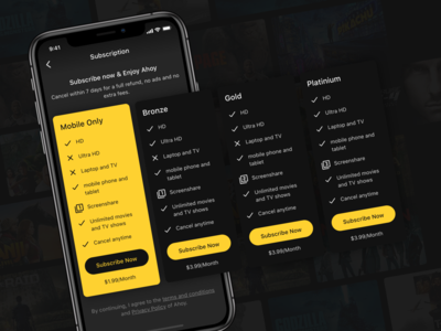 Ahoy - Subscription Plans subscription mobile pricing movie streaming app movie app dark mode concept user experience design user inteface ui design ui design clean ui ahoy