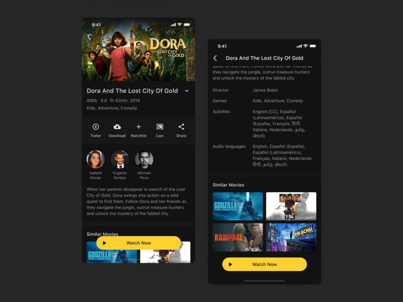 Ahoy - Movie Streaming App movie app netflix dark theme dark mode concept ux user experience design ui user inteface design ui design clean ui