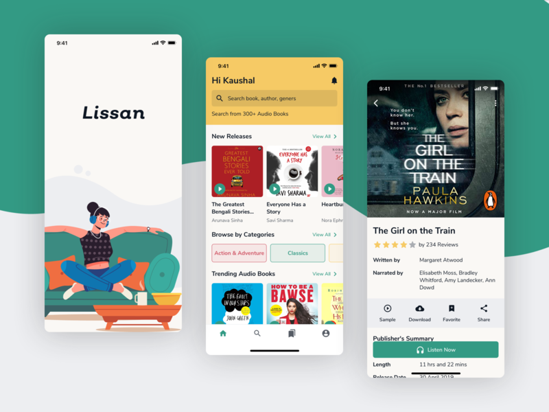 Lissan - Audiobooks App lissan audio player audible audiobooks concept ux user experience design user inteface ui design ui design clean ui