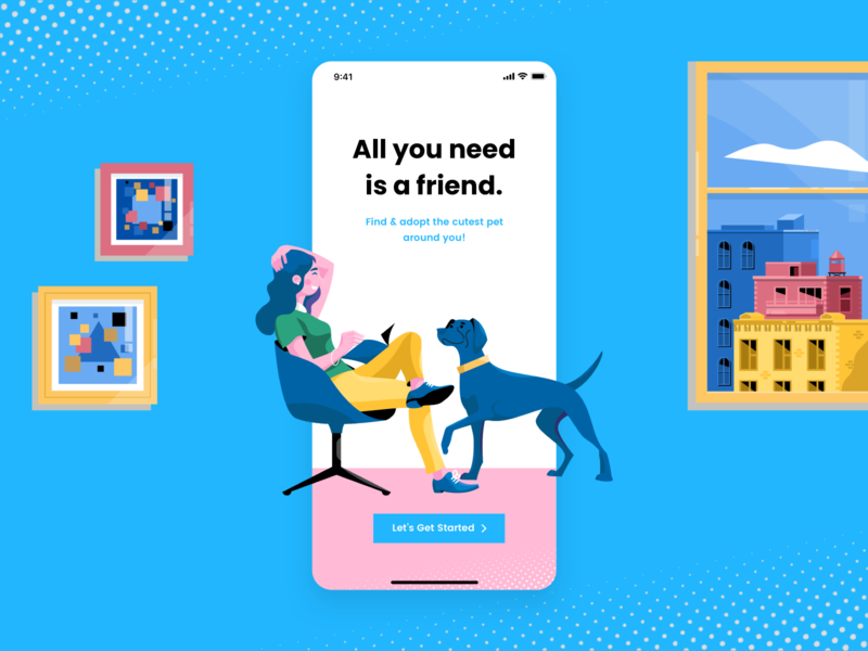 Adopt a Pet launch screen daily ui challenge daily ui branding illustration concept ux user experience design user inteface ui design ui design clean ui