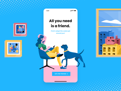 Adopt a Pet launch screen daily ui challenge daily ui branding illustration concept ux user experience design user inteface ui design ui design clean ui