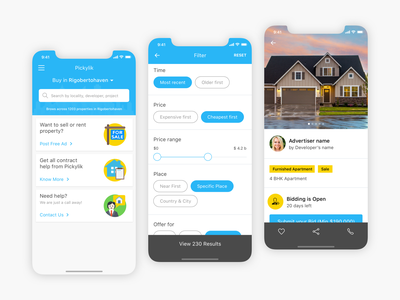 Real Estate Customer - Broker App design user inteface ui ux user experience design ui design clean ui broker app housing app real estate app real estate