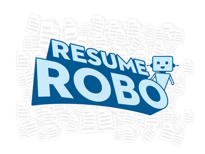 Resume Robo Logo Design robot character clean flat blue identity app illustration logo branding