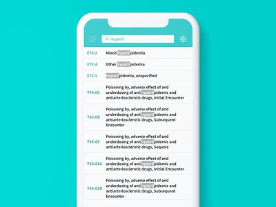 ICDX Diagnosis Code Search ios medical app clean healthcare design mobile ui