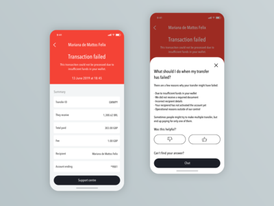 Mobile Wallet App - Transaction Failed