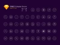 Free editable stroke icon set