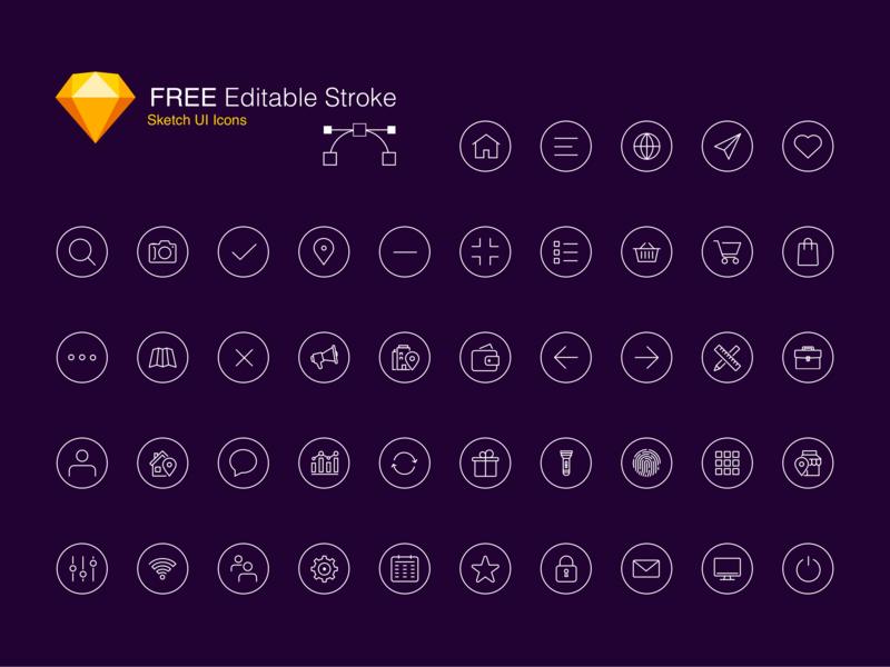 Free Editable Stroke Icon Set freebie inspiration illustration design technique iconography free sketch icons free icon set free icons