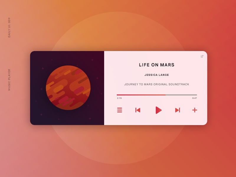 Daily UI 009: Music Player dailyui mars ui music player