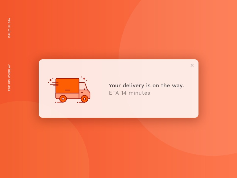 Daily UI 016: Pop Up notification eta delivery popup dailyui