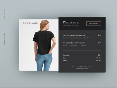 Daily UI 017: E-Mail Receipt tshirt tracking order receipt email ui dailyui everlane