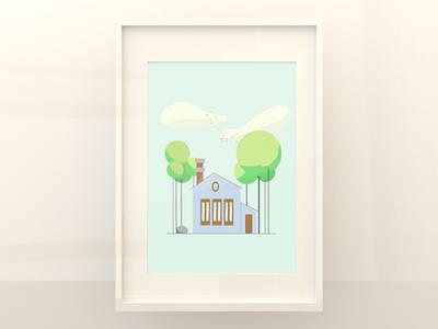 House in the Clouds graphic design clouds illustrator illustration adobe photoshop artist digital drawing minimalism minimalist
