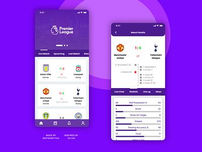 Premier League Score App mobile app design mobile design mobile app mobile ui mobile ux ui figma design figmadesign figma design