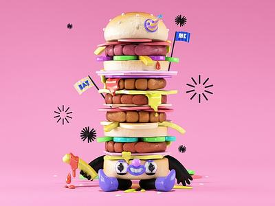 Burger friendly digital art children book book meal cook logo design meat kids children illustration cgi character 3d eat food burger