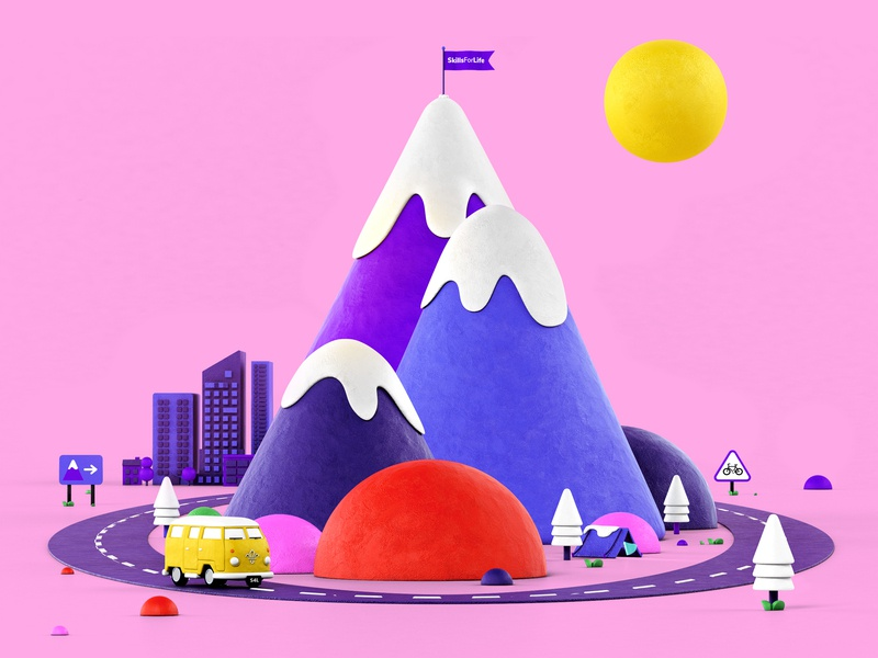 Scouts snow pink travel vacation mountain scouts render illustration design 3d