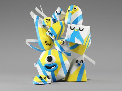 Uno shapes friends kids fun character design character render illustration design 3d