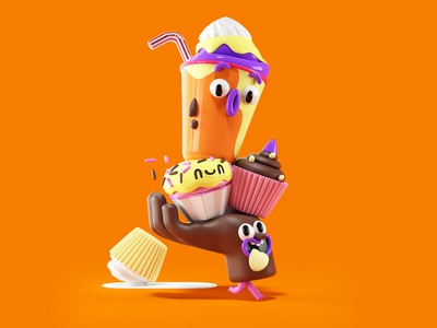 Happy Snack book render friends kids character design cgi 3d illustration character hand food meal snack