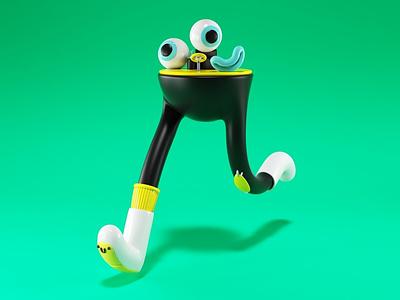 Run! kids fun design character design 3d render foot runner eyes green illustration character life fast run