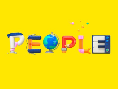 People design illustration kids yellow lettering type typography letter snorkel pencil bicycle earth karate piano science scouts things people