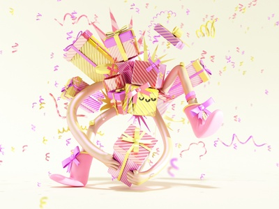 Gift design character cgi fun 3d gift cards birthday party book children kids gift character design illustration