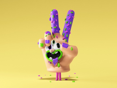 Revolution peaceful fingers peace illustration kids cgi 3d character character design hand