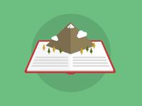 Introducing Jason litmus flat illustration mountains trees storybook book popup clouds