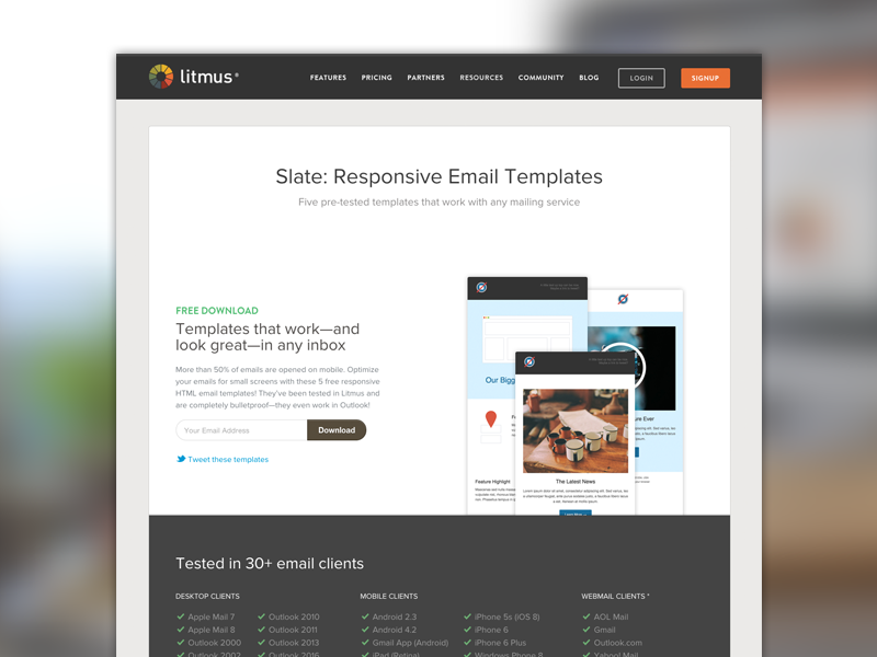 Slate By Litmus Landing Page By Kevin Mandeville Dribbble - Litmus email templates
