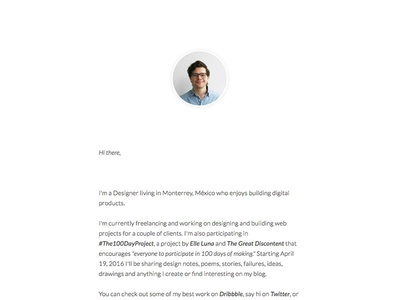 New About.me one-pager design profile about portfolio