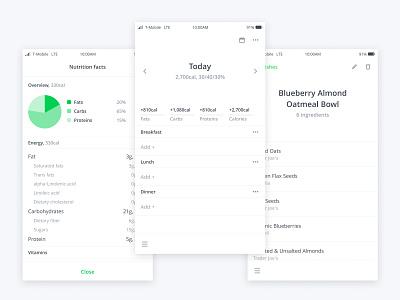 Nutrient app bottom navigation calorie counter nutrition mobile