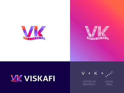Viskafi film maker logo design logobranding logoidea logoproject logotype logodesign modern lettermark letterpress reel film logo movielogo