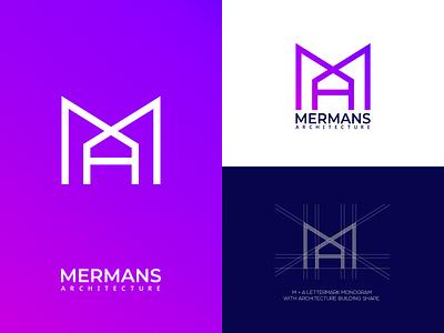 MERMANS Architecture lettermark logo design monogram logo company logo meaningful logo creative logo logomark logodesign lettermark architecture logo