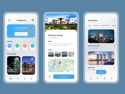 Pack Your Bags: Tourism App UI tourism ui tourism app ui pack your bags typography minimal flat singaporetourism tourism icon branding design app slider saver navbar mobile app mobile