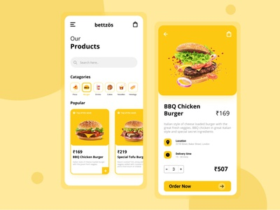 Bettzös : Fastfood App UI food lust food ui character order now pizza color food app ui minimal icon flat design navbar mobile app food and drink burger cravings food mobile