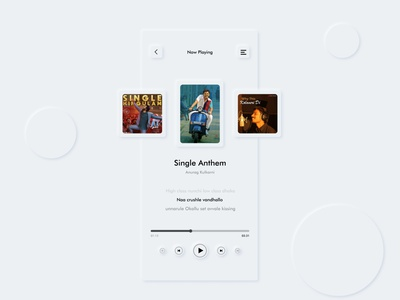 Lyri : Neumorphic Music App UI white music player brand design branding futura latest trend neumorphic typography music app ui slider saver minimal icon flat design navbar mobile app mobile music