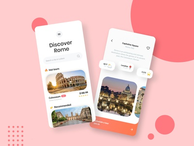 Cruiser : Travel App UI tourist touring travel app design travel app ui tourism travelling typography tourism app travel app app ui slider saver minimal icon flat design navbar mobile app mobile