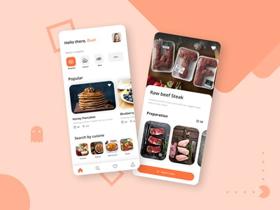 Apetagic : Food Delivery app UI clean minimal creative ui design ux ui typography ux design illustration character mobile mobile app mobile app design recipe food cooking cook recipe app food app food illustration