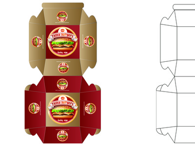 Burger Box 02 illustration icon burger box burger box design graphic design branding