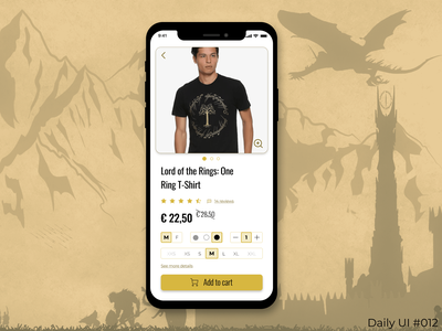 Daily UI #012 - E-Commerce Shop ecommerce shop ecommerceappdesign ecommerceapp ecommerce figmadesign lord of the rings app design app design dailyui012 dailyuichallenge dailyui ui figma