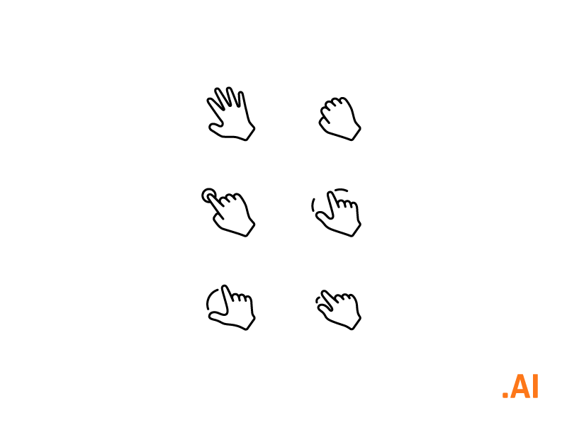Free Icons - Interaction gestures freebies free interaction gestures design illustrator ui icons set pack