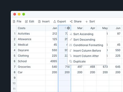 Column Settings data visualization data viz dataviz table data table data product design product