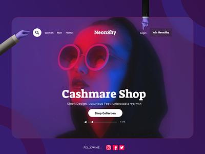 NeonShy Home Screen illustration ui website design homepage design home screen home page header webdesign web website concept