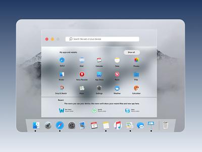Apple OSX  Redesign of Windows 10X uiuxdesign new trend trends ui glassmorphism macos x mac redesign uidesign